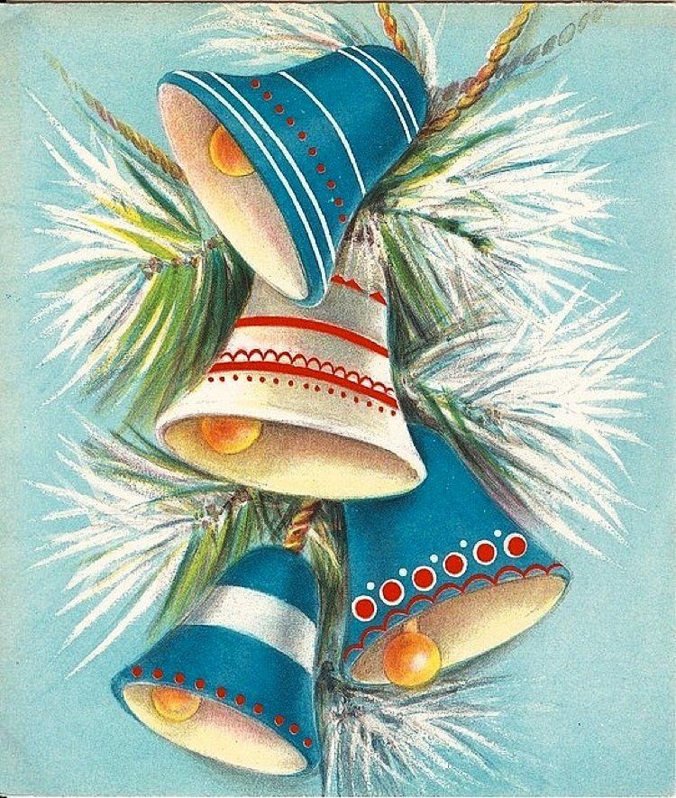 Новый год, открытки с рождеством колокольчики