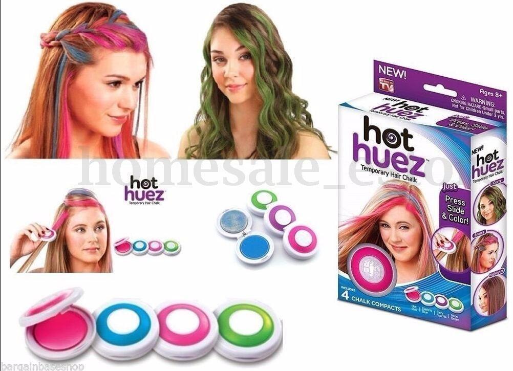 4 Pcs Huez Hues Non-Toxic Temporary Hair Chalk Dye Soft Pastels ...