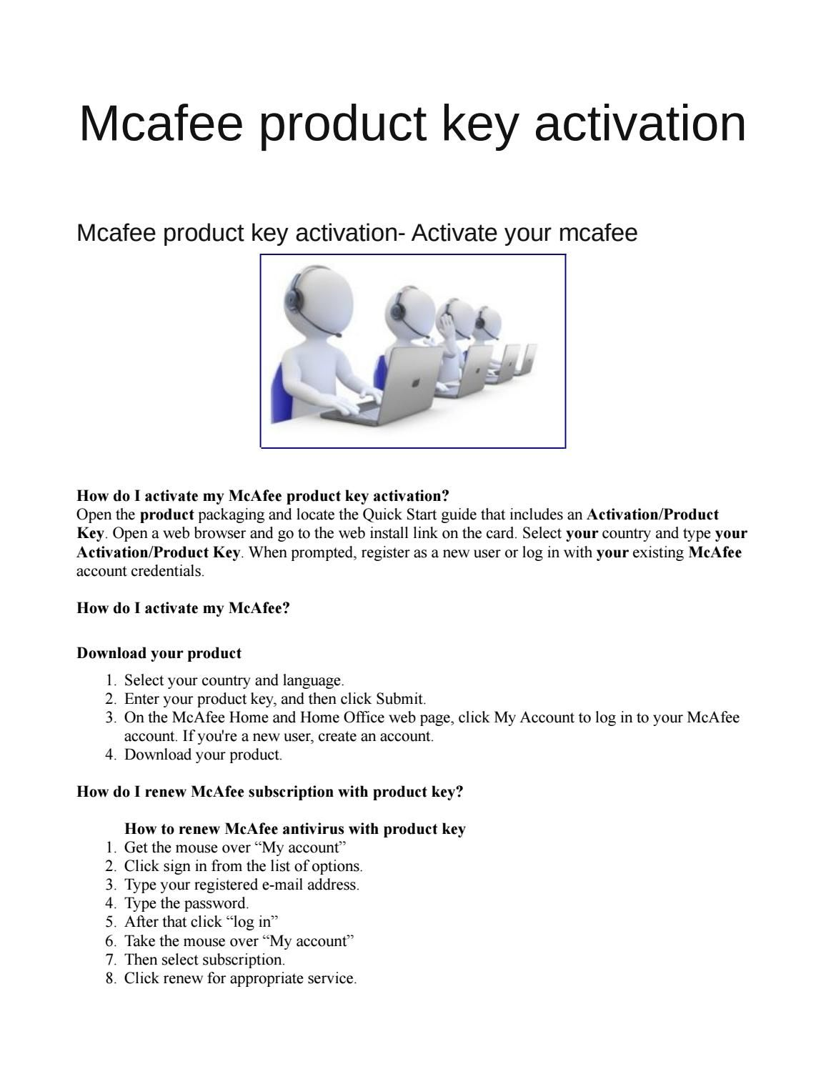 activate mcafee using product key