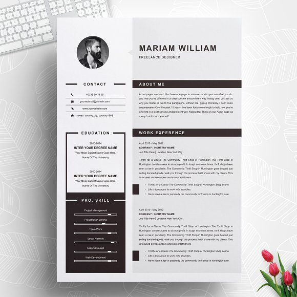modern  u0026 clean resume    cv template by resumeinventor on