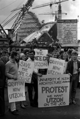 Students protest and march from Sydney Opera House to Parliament House in Sydney after the resignation of architect Joern Utzon.