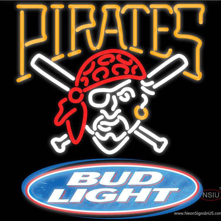 Bud Light Logo Pittsburgh Pirates Mlb Real Neon Glass Tube Neon Sign