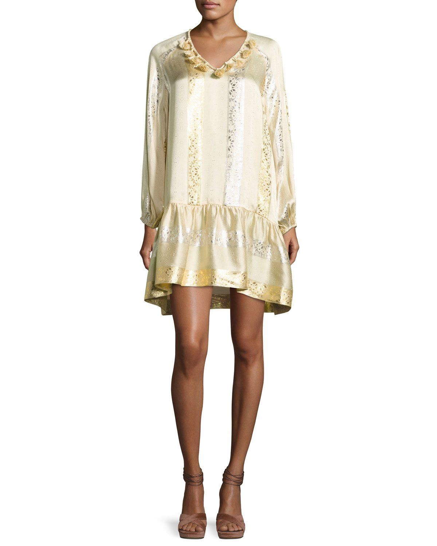 Roe metallic jacquard shift dress goldsilver products