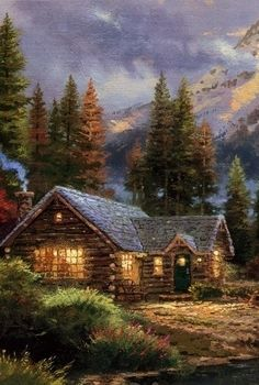 Thomas Kinkade Cabin S In 2019 Thomas Kinkade Cabin Painting