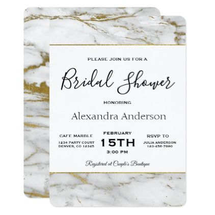 Bridal Shower White  Gold Marble Invitation Bridal showers