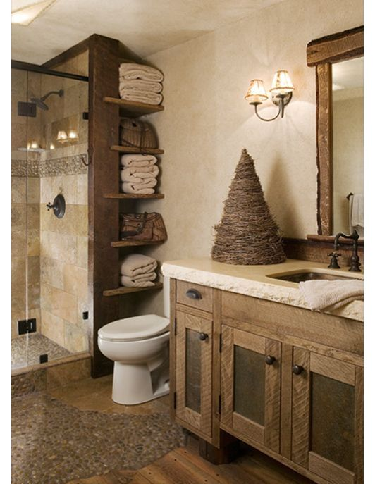 Rustic Bathroom With Stand Up Shower The Wood Throughout Complements The Tile Design Inside The Showe Rustic Bathrooms Rustic Bathroom Decor Bathrooms Remodel