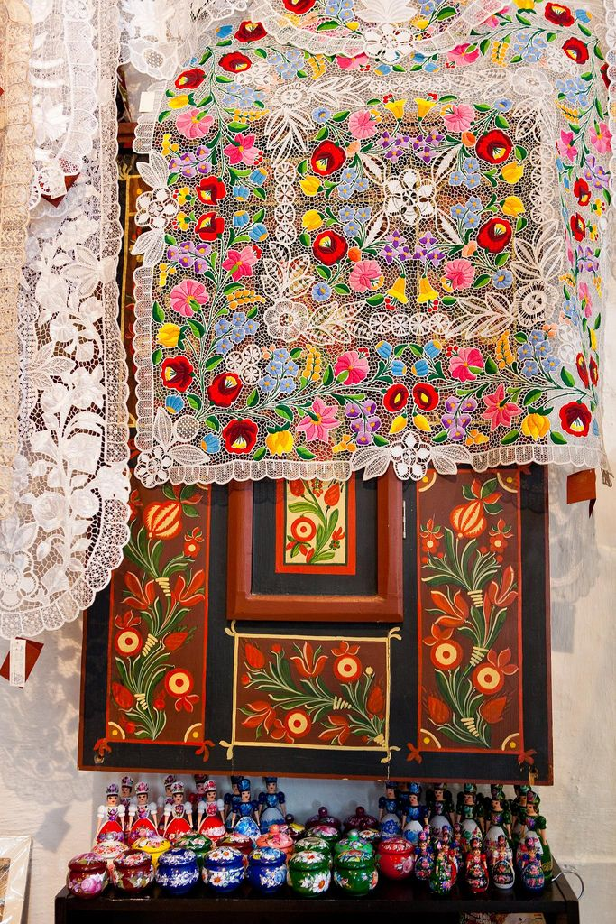 Hungarian lace embroidery with wooden folk art - this is what's in my head when I daydream in traffic.
