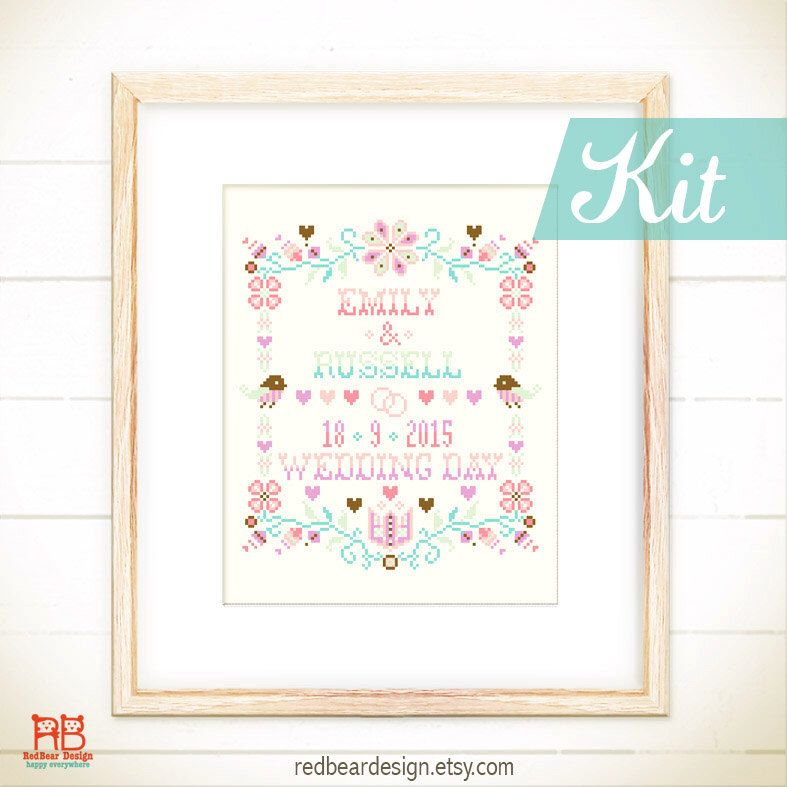 Cross stitch KIT Wedding - Happy Floral Wedding Keepsake - cross ...