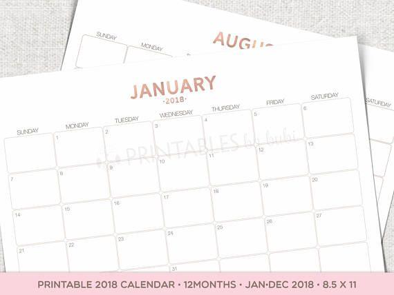 printable 2018 calendar by month