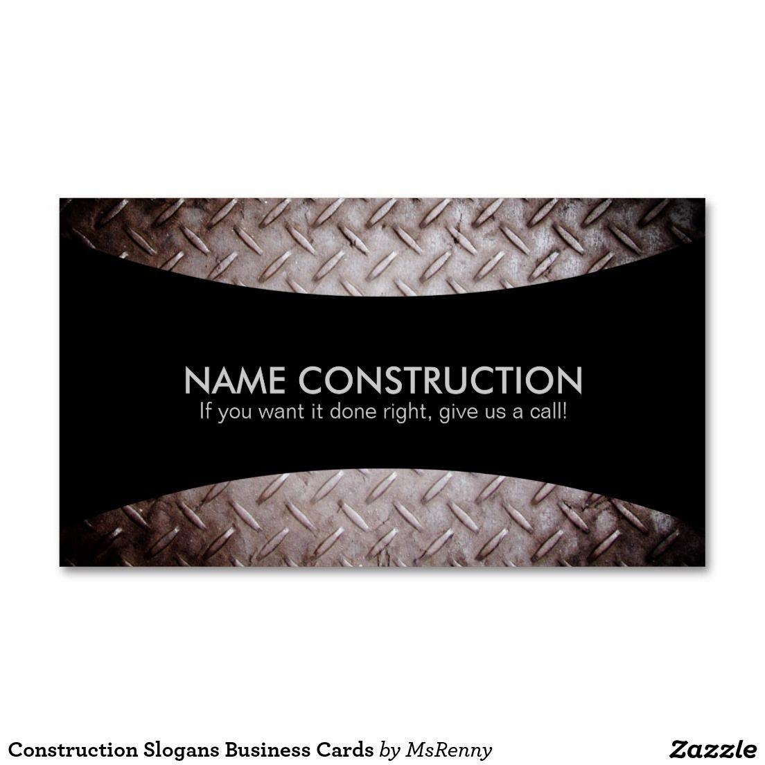Construction Slogans Business Cards   Pinterest   Slogan ...