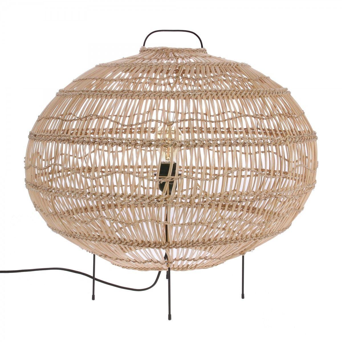 Lampe De Sol Ovale Wicker En Osier Hk Living Wicker Floor Lamp