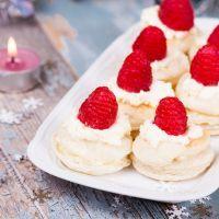 Raspberry Topped Vanilla Macarons