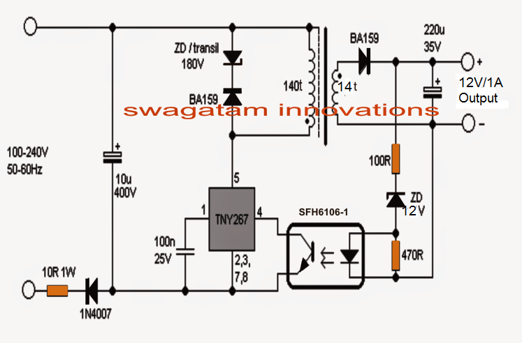 12v 1amp smps circuit using tny
