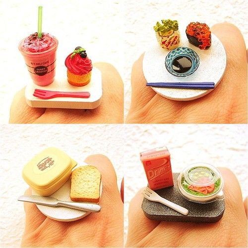 food miniatures - sushi, strawberry smoothie, cupcake and bread - we love etsy