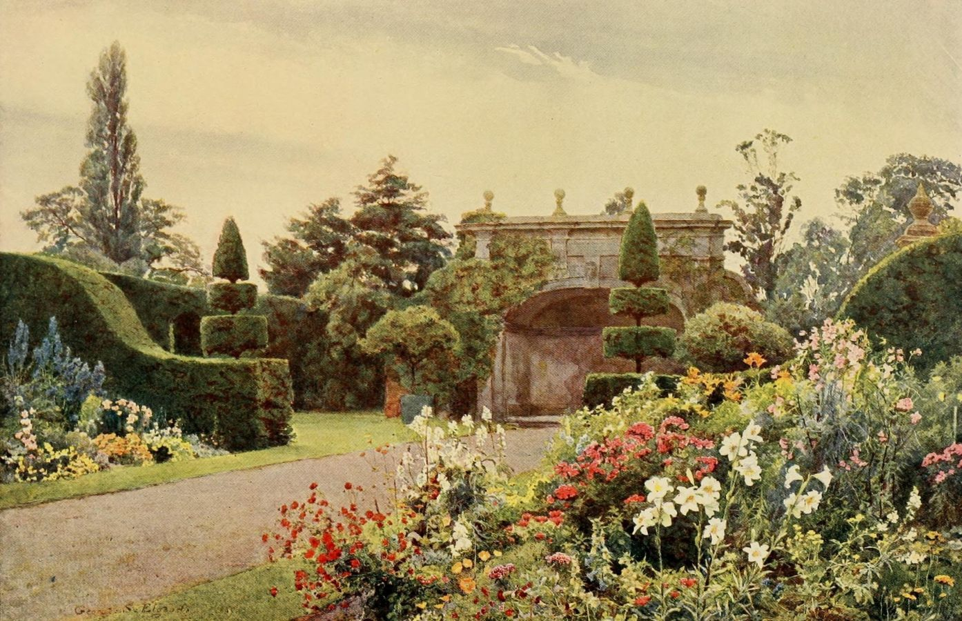 Some English Gardens 1904 Arley The Alcove Poster Print By George S Elgood X