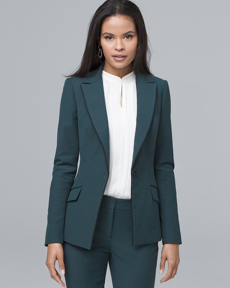 33958f21e0b Beautiful leather-trimmed Theory 'Lanai L.C.K.' Stretch Blazer available at  #Nordstrom   My Style   Blazer, Blazer, shorts, Jackets