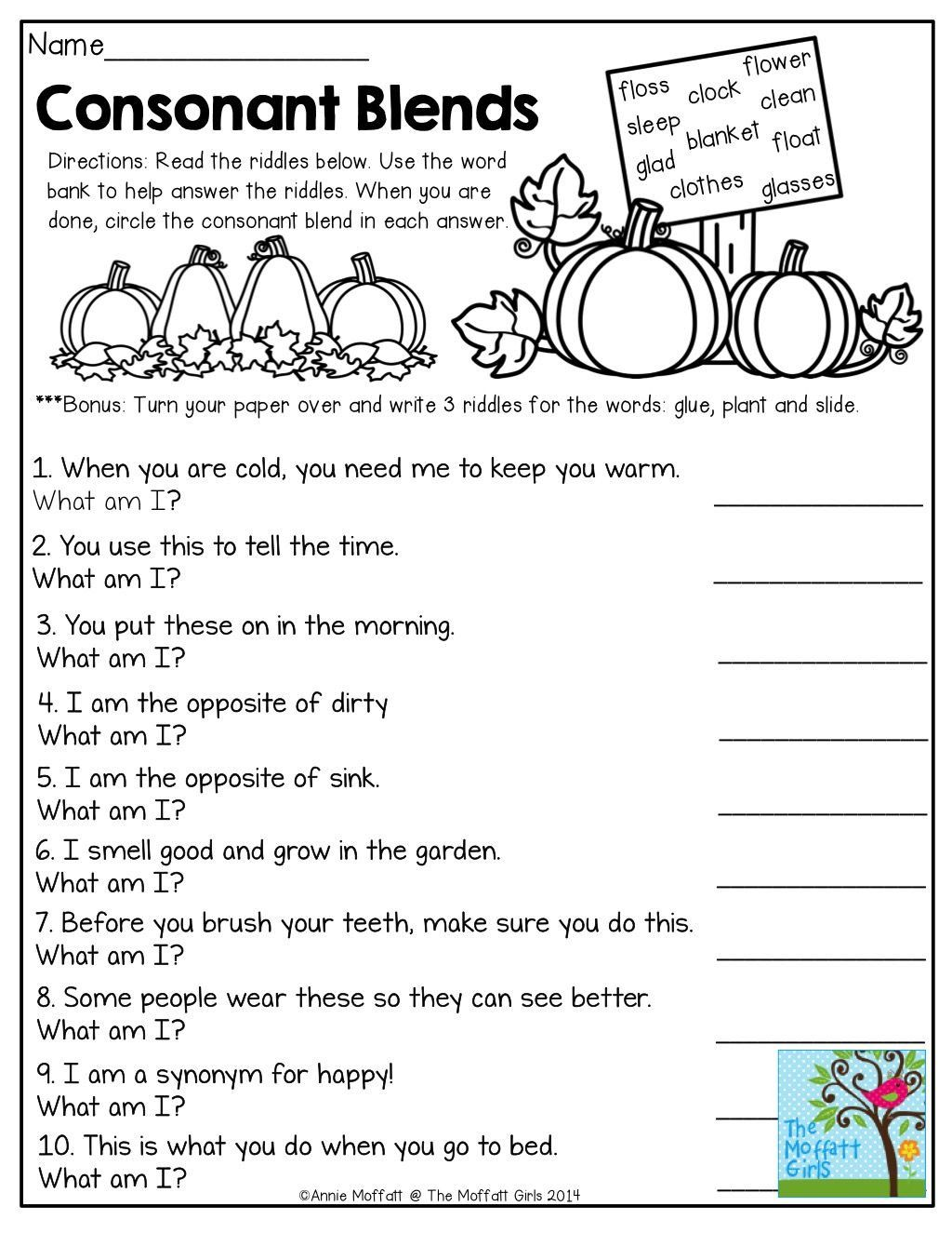 Consonant Blends Worksheets 3rd Grade Consonant Blends Mystery Words Read  the Clues and…   Phonics blends worksheets [ 1325 x 1024 Pixel ]