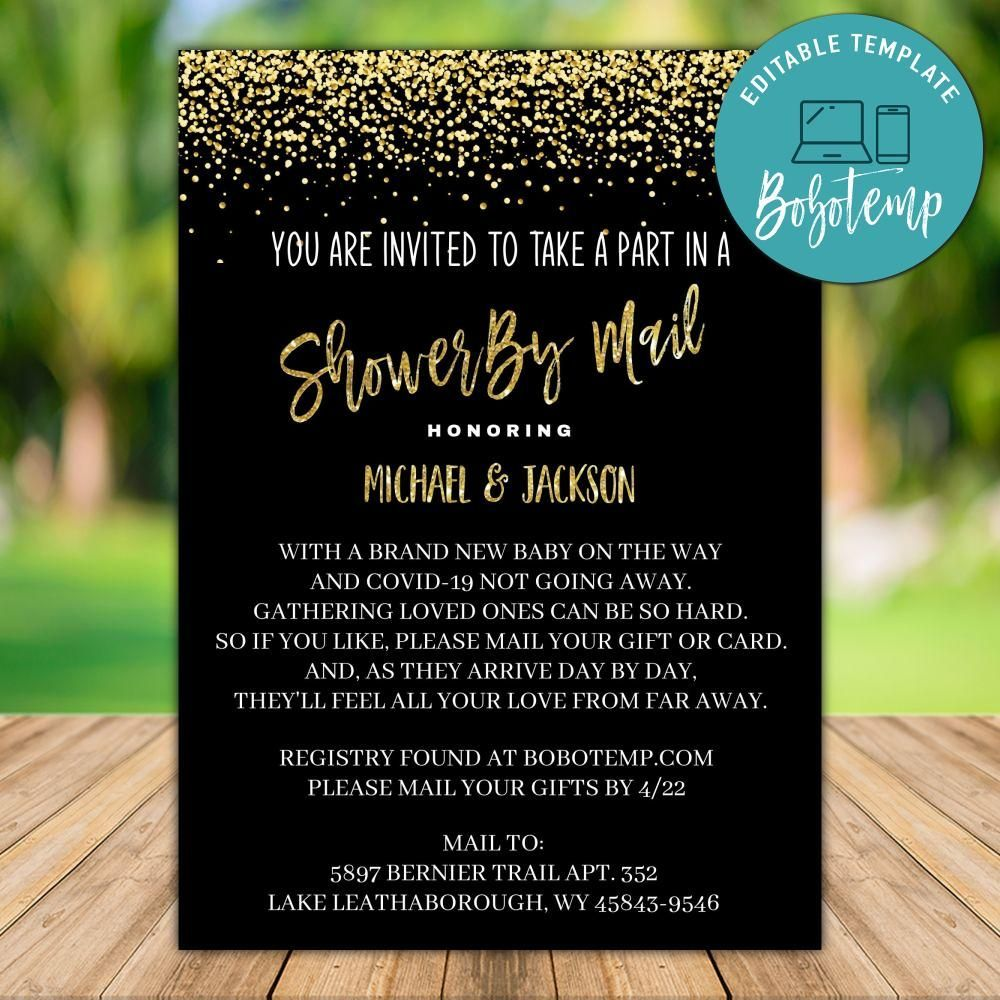 Printable Black And Gold Shower By Mail Invitation Template Diy Invitation Template Virtual Baby Shower Invitation Gold Shower