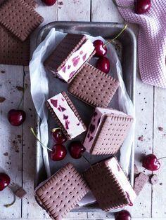 Kirsch Cookie Eis Sandwiches Mit Kakao Keksen Backen Pinterest