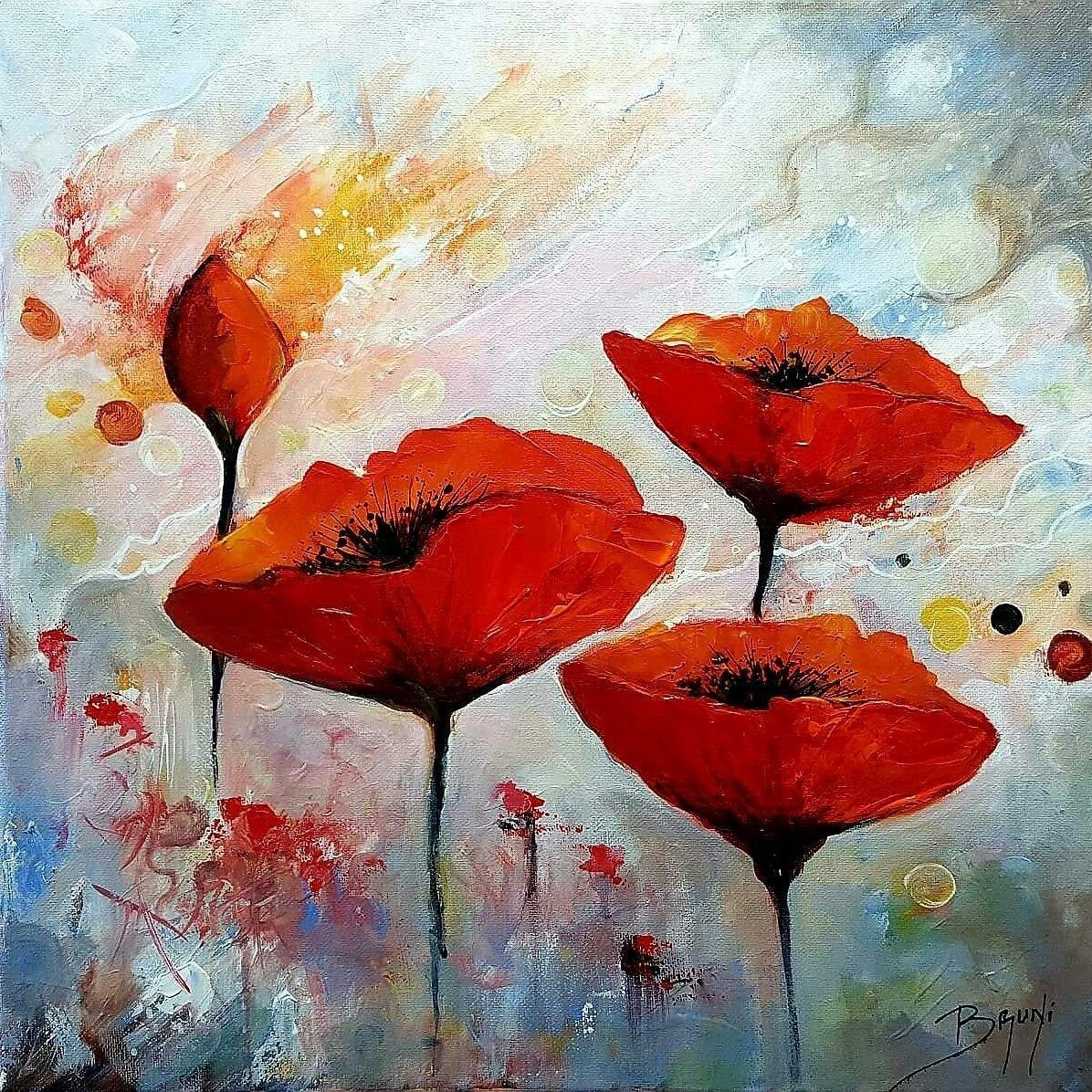 Les Pavots Artiste Eric Bruni Etsy In 2020 Poppy Painting Painting Art