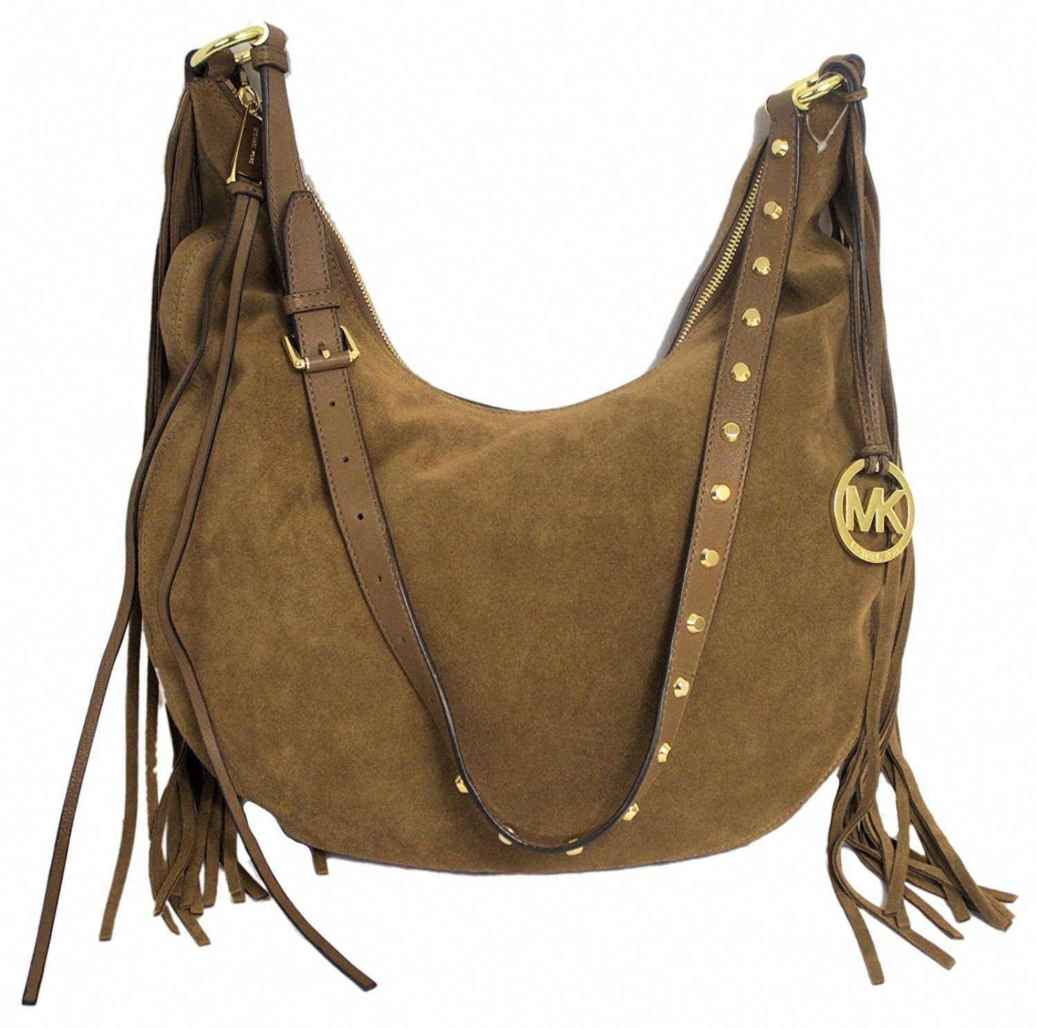862a82d962a7 Michael Kors Rhea Large Slouchy Suede Leather Shoulder Bag - Coffee brown  suede finished leather with
