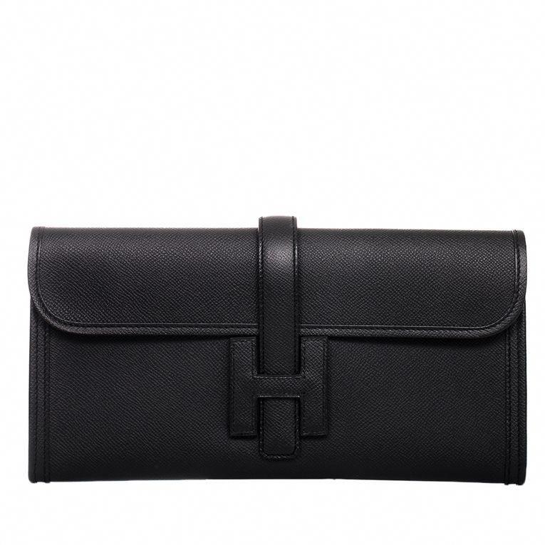 a53cb2069017 Hermes Jige Elan Epsom Clutch Bag in Black  hermes  Hermeshandbags ...
