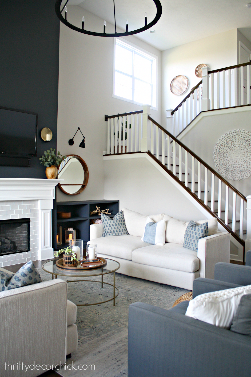 Gray Living Room Accent Wall: Dark Blue Gray Color On Big Fireplace Walls