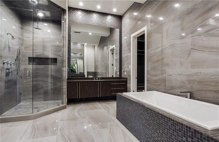 Delicieux Modern Master Bathroom With Gray Limestone Walls And Rainfall Shower