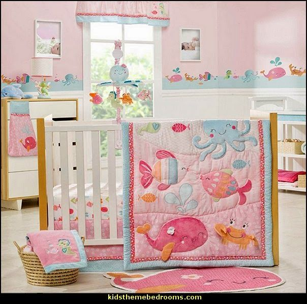Under The Sea Baby Crib Bedding Theme Nursery Pink And Blue