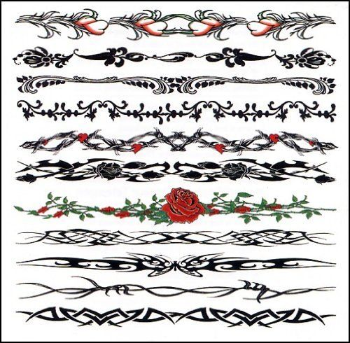 6 Sheets Wrist Body Art Henna Tattoo Stencil Flower: Wristband Mix Temporaray Tattoo By Tattoo Fun. $5.95