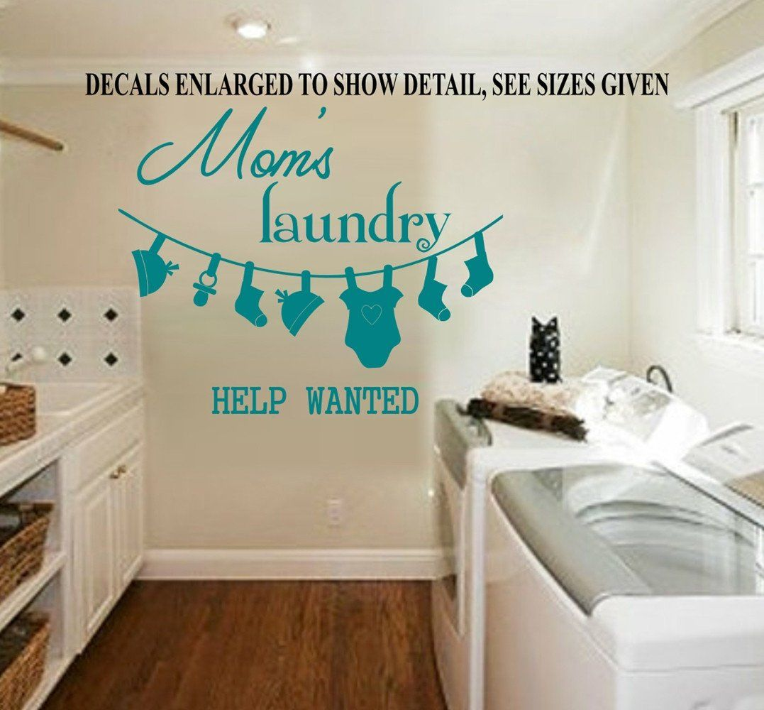 Laundry Vinyl Decal Moms Laundry Help Wanted Wall Art Sticker Vinyl Decal Various
