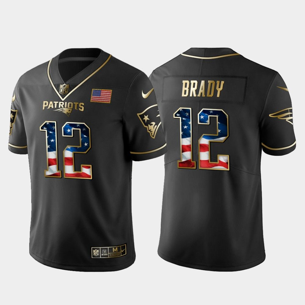 New England Patriots 2019 Independence Day Black Golden Edition Jersey 12 Tom Brady In 2020 New England Patriots Patriots Tom Brady
