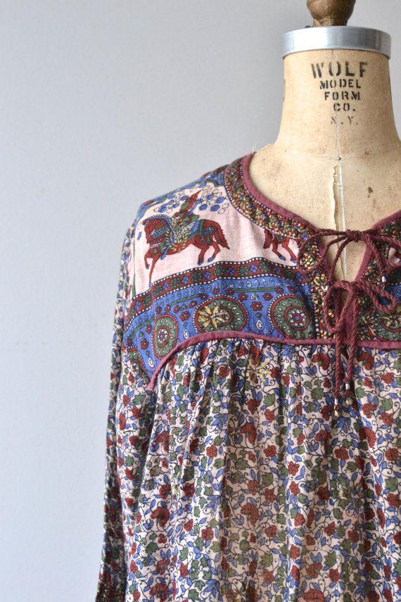 Caravan dress 1970s indian cotton dress vintage by DearGolden