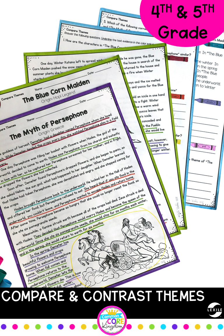 Compare And Contrast Themes In Folktales Myths 4th Grade Rl 4 9 Paired Passages Compare And Contrast Reading Comprehension Texts [ 1152 x 768 Pixel ]
