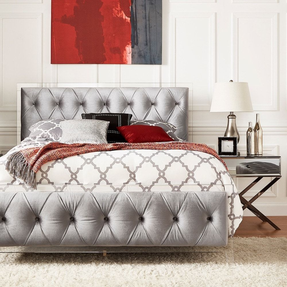 Anya Full-size Velvet Button Tufted Acrylic Headboard and Bed by iNSPIRE Q  Bold |