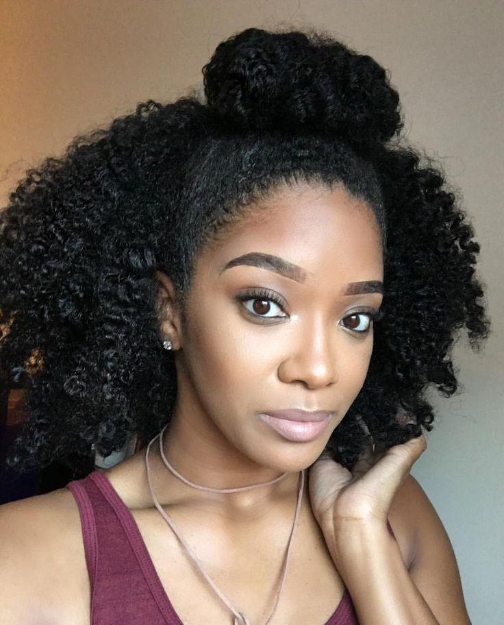 #TBT half up bun ️ ️ ️ | Natural hair bun styles, Hair puff, Natural hair twist out