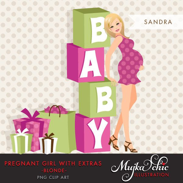Blonde Pregnant Woman Character Design with gift boxes and baby ...