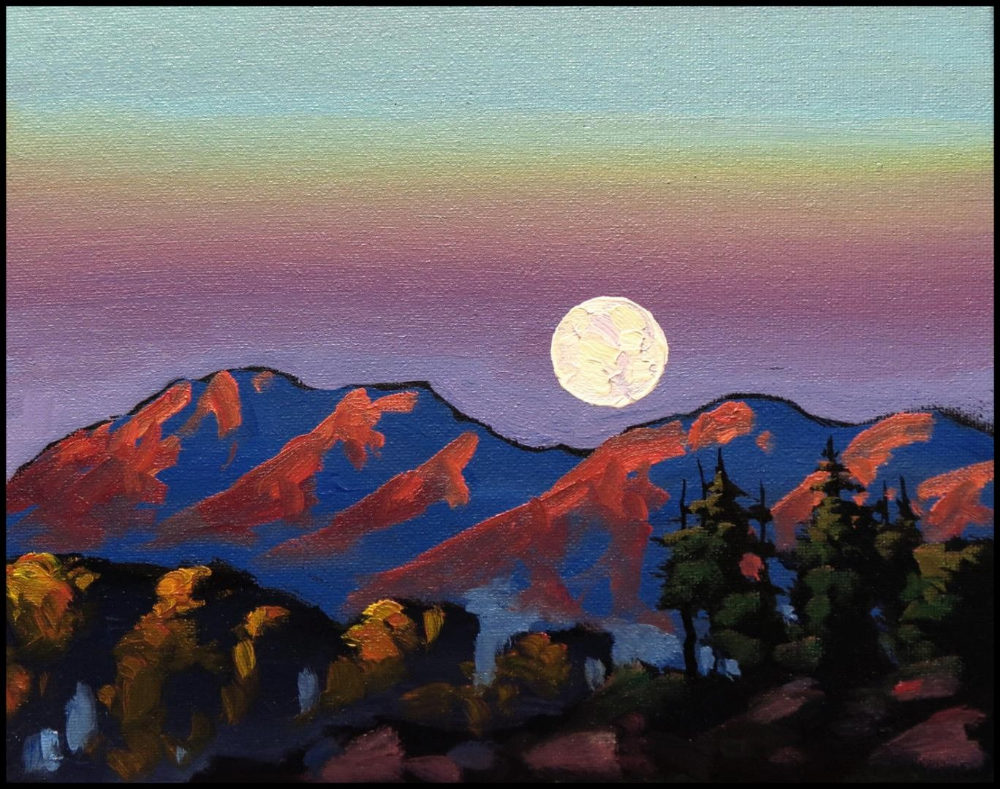 Impressionistic Landscape Mountain Sunset Moon Google Search Mountain Sunset Painting Impressionist