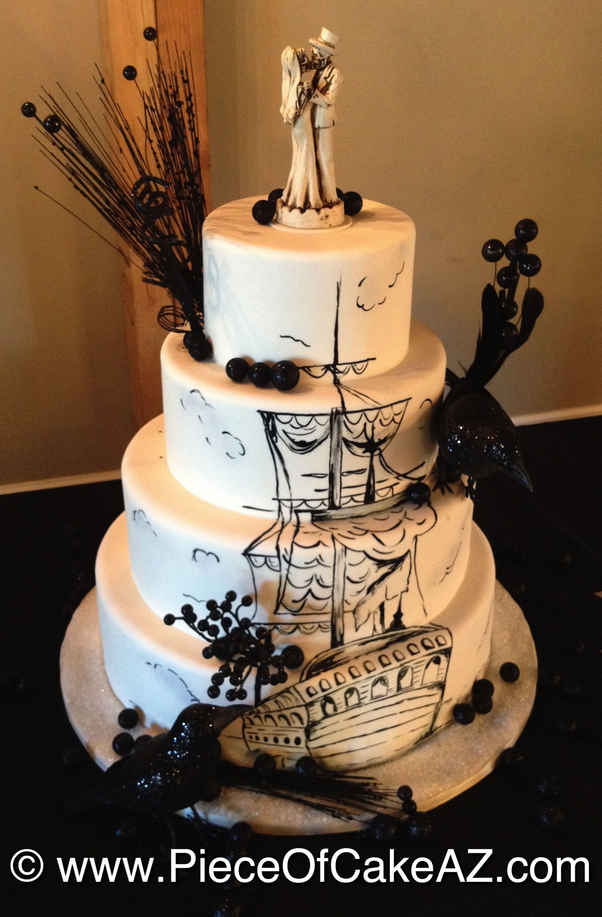 hand painted pirate ship halloween wedding cake - Halloween Wedding Cakes Pictures