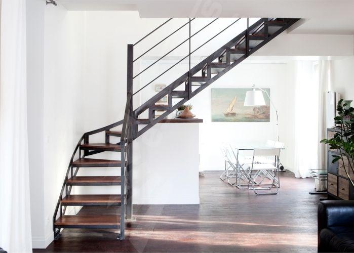Escalier m tal et bois au style industriel photo dt100 esca 39 droit 1 4 - Escalier bois 4 marches ...