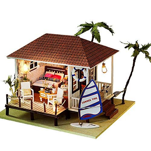 Limaomao 3D DIY House Kit Greenhouse with LED Light Miniature with Dust Cover Dollhouse Puzzle Challenge Gift Set (Seaside House) (Color : Multi-Color #miniaturetoys