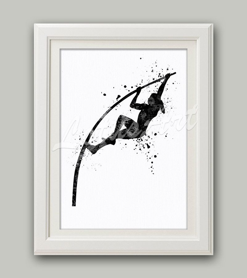 Pole Vault Girl Black White Watercolor Print Pole Vaulting Wall Art Sports Poster Home Decor Nursery Painting Personalised Custom Gift Pole Vault Sports Wall Art Pole Vault Girl
