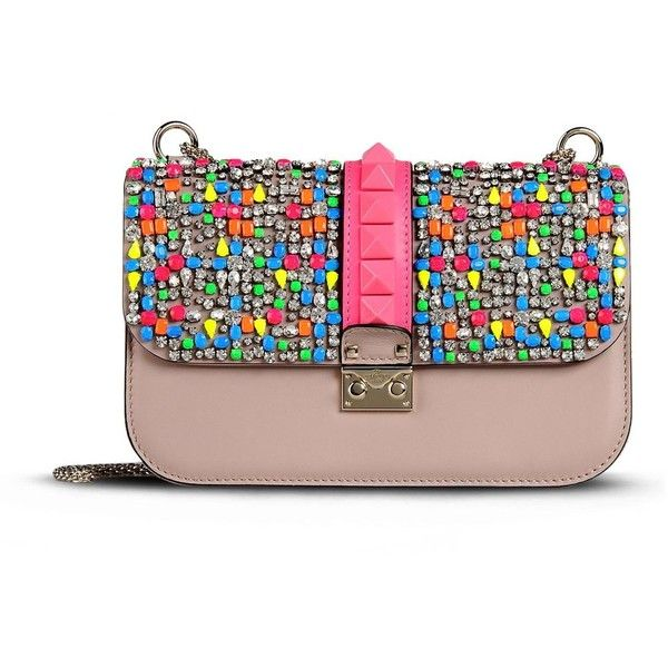 Valentino Shoulder bag (700 KWD) ❤ liked on Polyvore featuring bags, handbags, shoulder bags, purses, valentino, bolsas, studded handbags, chain shoulder bag, colorful purses and studded shoulder bag
