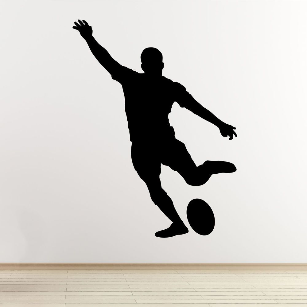 Rugby Player Wall Art Sticker Kicking Player OutlineSilhouette - How to make vinyl wall decals with silhouette
