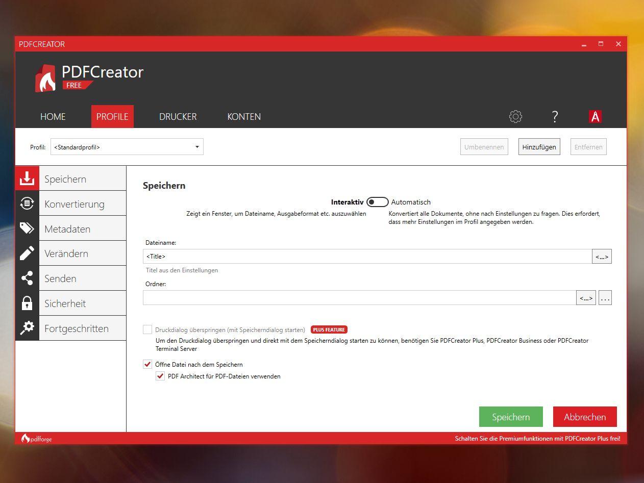 PDFCreator Interaktiv, Pdf datei und Ordner