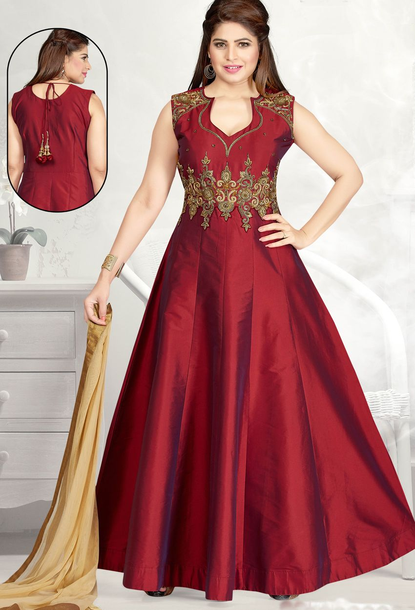 Readymade Maroon Tufeeta Long Anarkali Salwar Suit