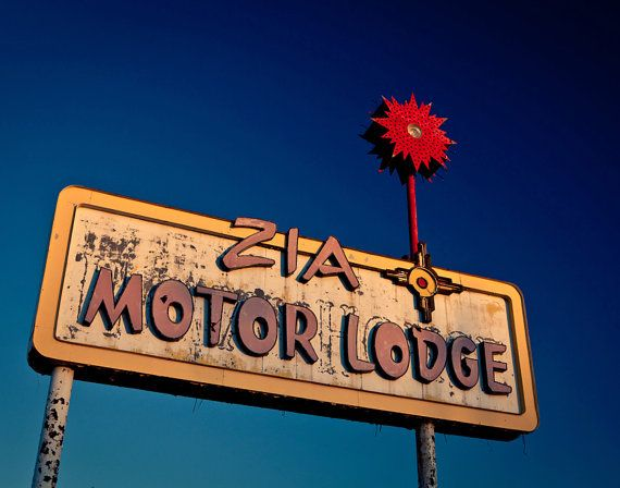 50% OFF SALE - Route 66 Zia Motor Lodge - Vintage Neon Sign - Graphic Wall Art - Albuquerque Breaking Bad Location - 11X14 Fine Art Print