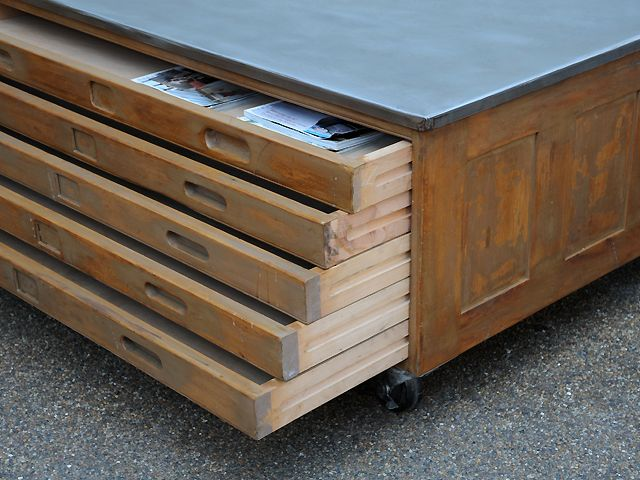 4 Drawer Plan Chest With Metal Top And Swivel Locking Castors Perfect Coffee Table With Lots Of Storage Origin Uk Perfect Coffee Table Map Drawers Drawers