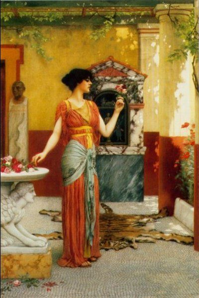 The Bouquet (1899) by John William Godward (1861-1922).  Just found I'd pinned this before but - hey, the colours are just so gorgeous.... mc - LOVE the pose and the hip scarf!