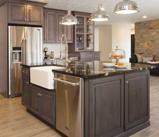 Colorado Knotty Alder Kitchen Cabinets: Hanover Door Style In Rustic Alder Finished In Driftwood